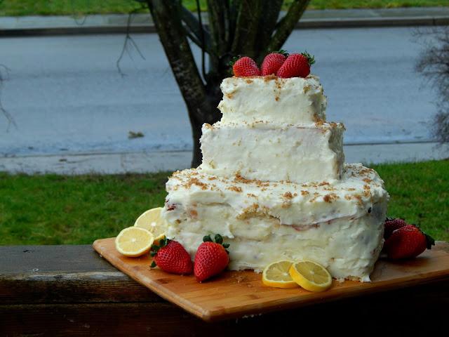 recipe for a three tiered strawberry lemonade cake @MelissaKaylene